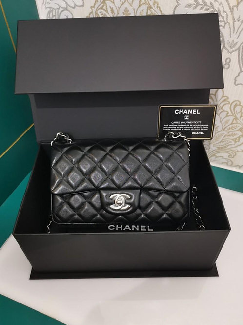 #24 BNIB Chanel Mini Rectangular Black Lamb SHW