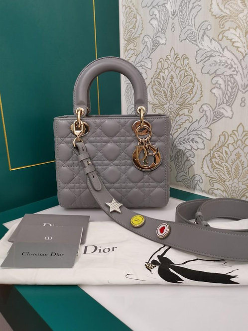 Like New ABC Dior Lady Dior Small Grey Lamb with Light GHW