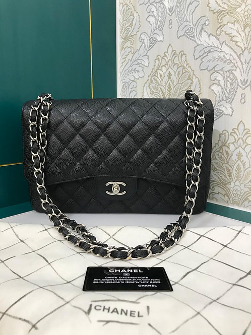 #17 Like New Chanel Jumbo Classic Double Flap Black Caviar with SHW