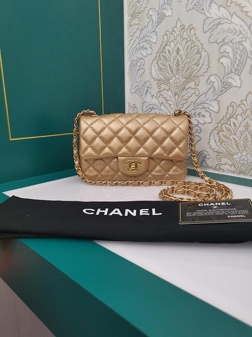 Excellent Chanel Mini Rectangular caviar Gold GHW
