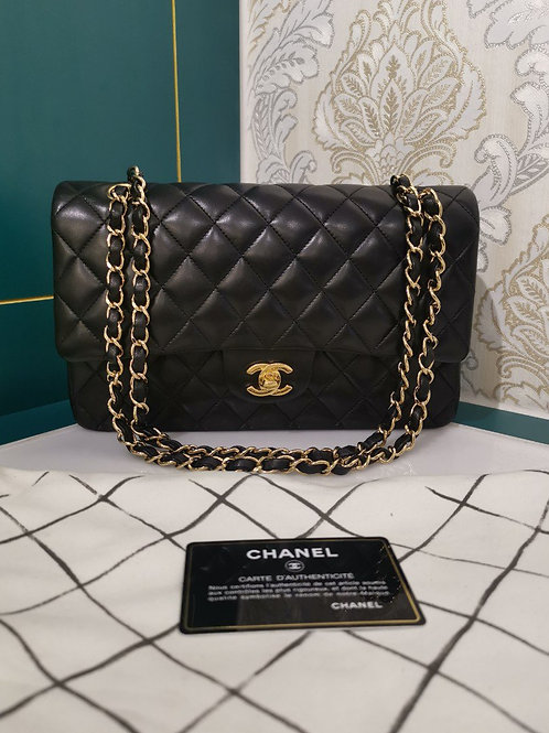#20 Like New Chanel Classic double flap Medium Black Lambskin with GHW