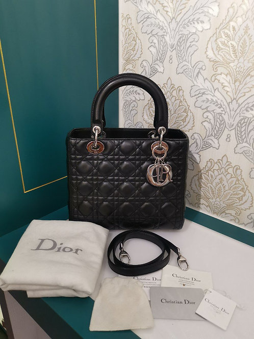 Like New Lady Dior Medium Black Lambskin with SHW