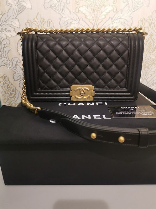 #27 BNIB Chanel Boy Old Medium Black Calf with GHW