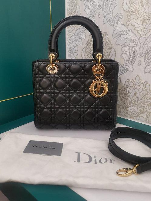 Brand New Lady Dior Black Medium Lambskin with GHW