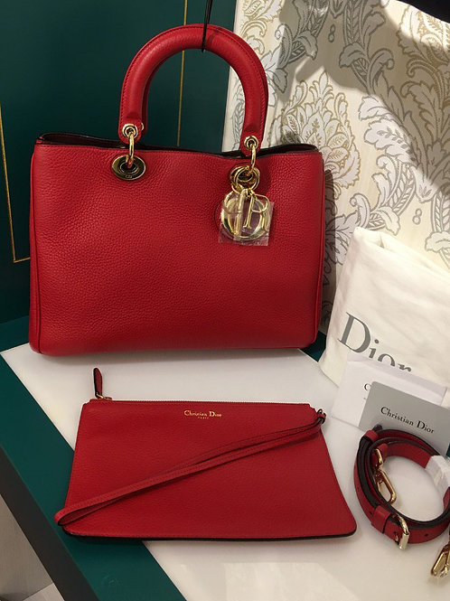 Brand New Dior VIP medium Diorissimo Red Grained Leather Hangbag with GHW