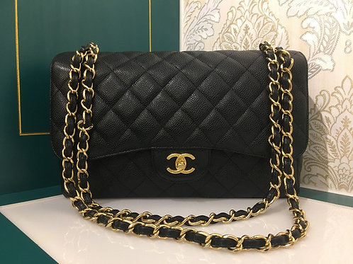 #16 Like New Chanel Jumbo Classic Double Flap Black Caviar with GHW