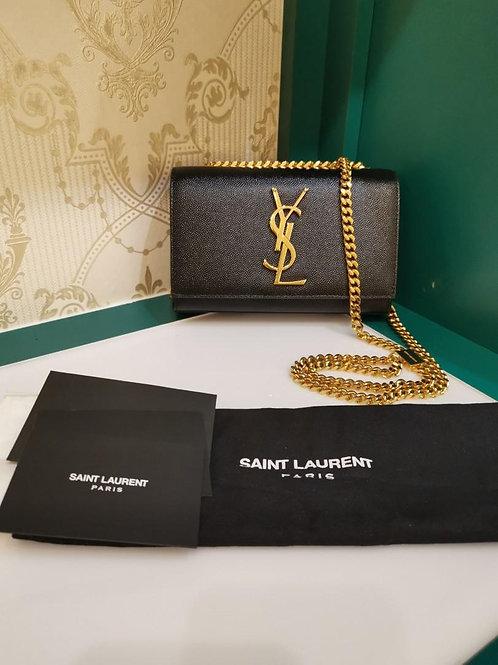 Like New Ysl Saint Laurent Kate Mini WOC Black Grained Calf GHW