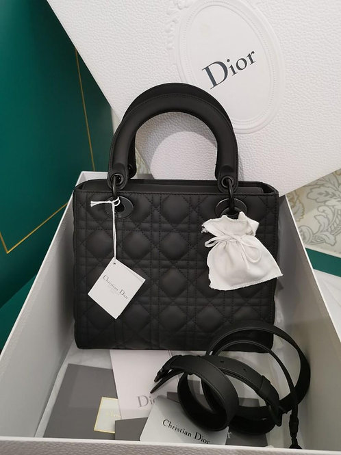 BNIB Lady Dior Medium Ultra Matte So Black Calf