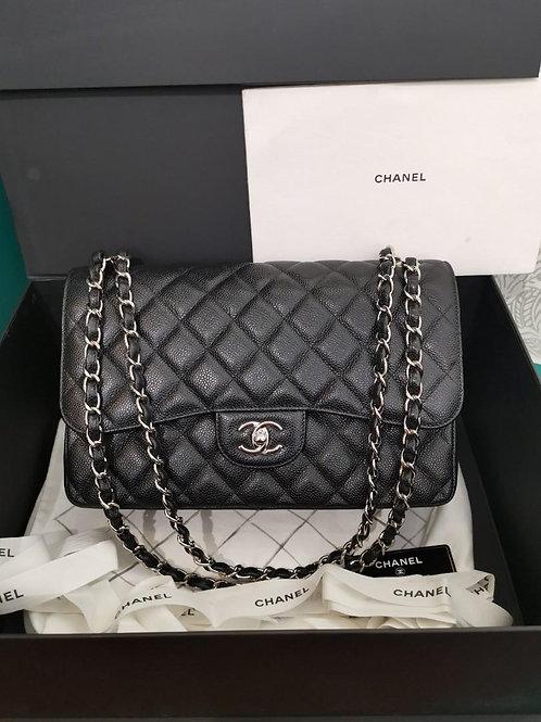 #25 LNIB Chanel Jumbo Classic Double Flap Black caviar SHW