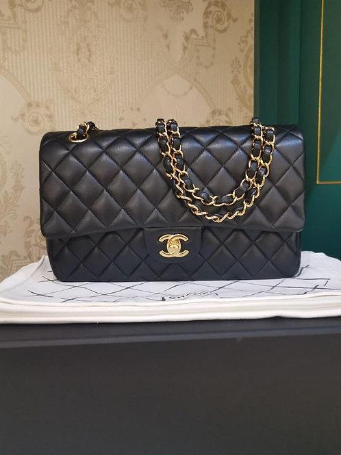 #23 Excellent Chanel Classic Double Flap Medium Lamb Black GHW