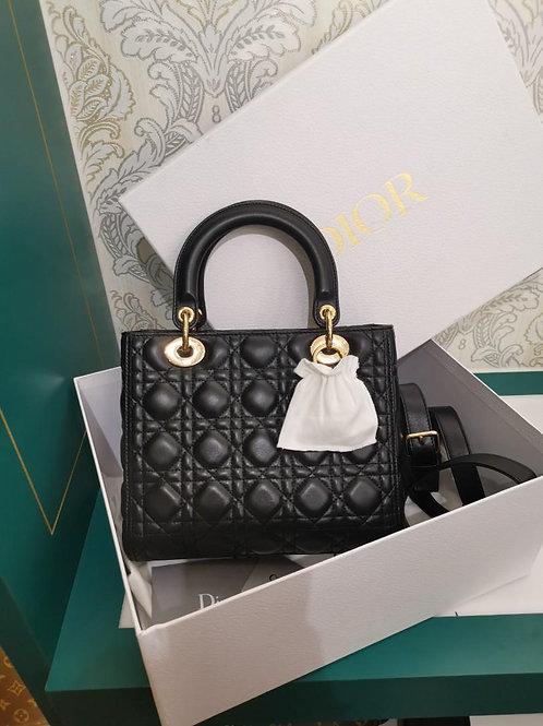 LNIB Lady Dior Black Lamb Medium with GHW