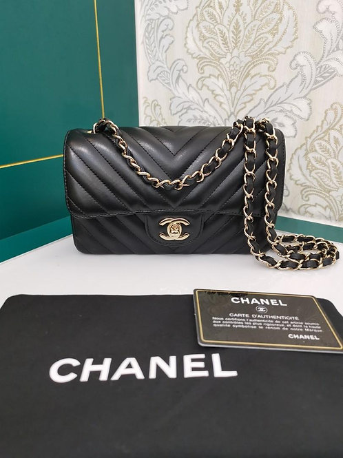 #26 Like New Chanel Mini Rectangular Flap Black Chevron Lamb with light GHW