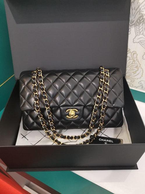 #20 LNIB Chanel Medium Classic Double Flap Black Lamb GHW
