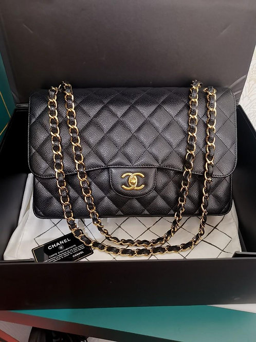 #23 BNIB Chanel Jumbo Classic Double Flap Black Caviar with GHW