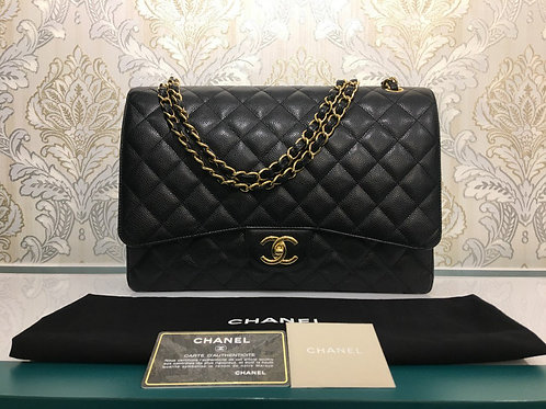 Almost New Chanel Maxi Double Flap Black Caviar with GHW