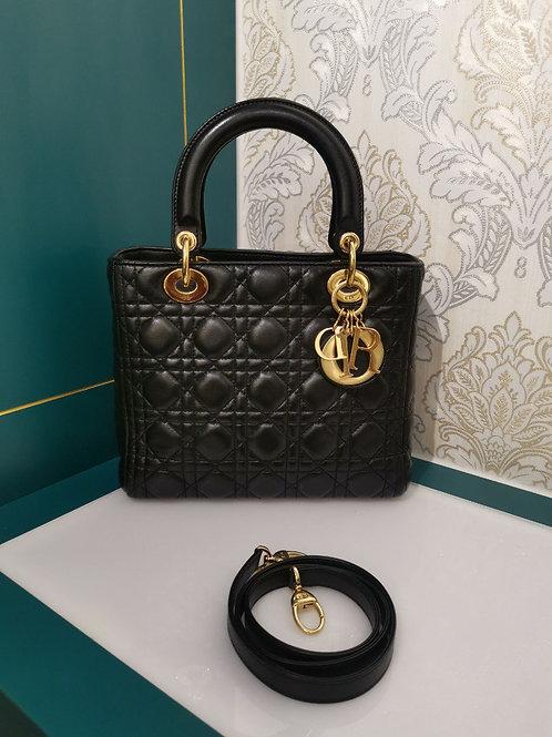 Lady Dior Medium Black Lambskin with GHW