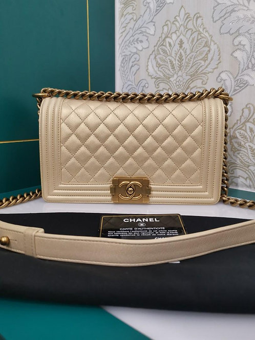 #20 Chanel Boy Old Medium Pearly Gold Calf aged GHW