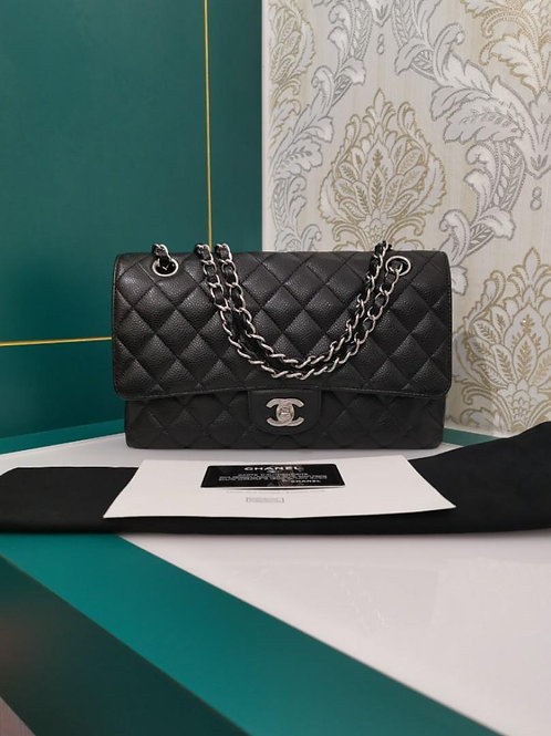 #16 Like New Chanel Medium Classic Double Flap Black Caviar with SHW