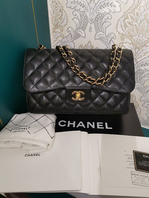 #21 Almost New Chanel Jumbo Classic Double Flap Black Caviar with GHW