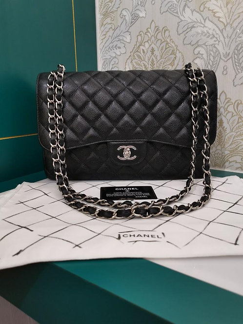 #25 Like New Chanel Jumbo Classic Double Flap Black Caviar with SHW