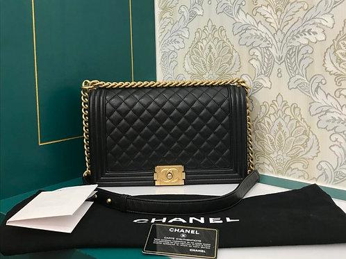 #24 Like New Chanel Boy New Medium Black Caviar with GHW