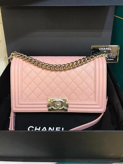 #29 BNIB Chanel Boy Old Medium Sakura Pink Caviar GHW