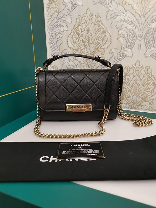 #23 Chanel Label Click Flap Grained Calf Black Small with light GHW