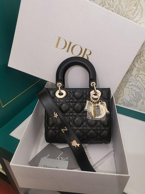 Brand New Full set Lady Dior Small Black Lamb with GHW