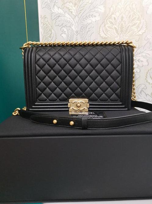 #25 BNIB Chanel Boy New Medium/Large Black caviar GHW