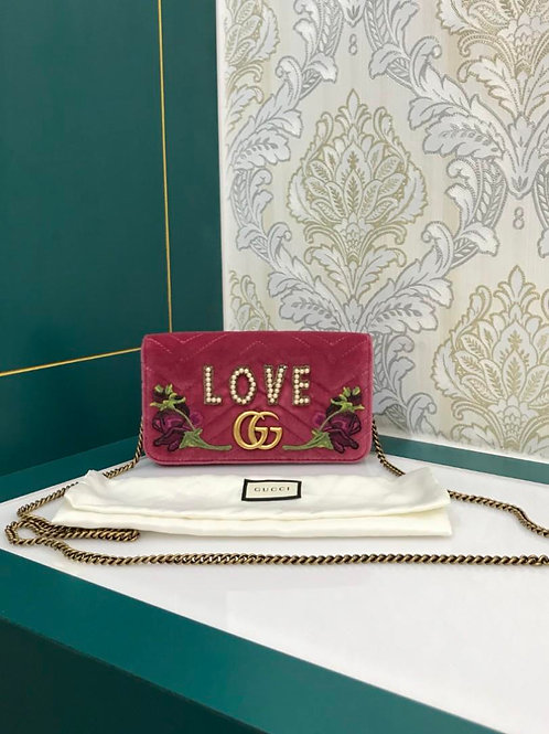 Gucci Marmont Small Full Flap WOC Love Pearl Quilted Pink Velvet