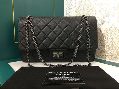 #17 Like New Chanel 2.55 Ressiue 227 Black Calf with RHW