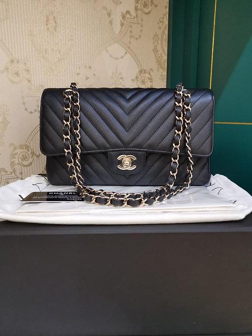 #27 LNIB Chanel Classic Double Flap Medium Black Chevron GHW (Cash S$10,280)