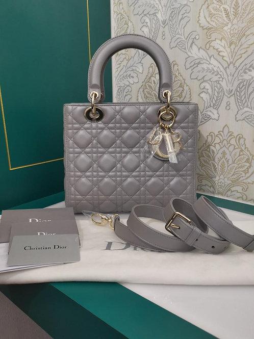 Brand New Lady Dior Medium Pearly Grey Lamb light GHW