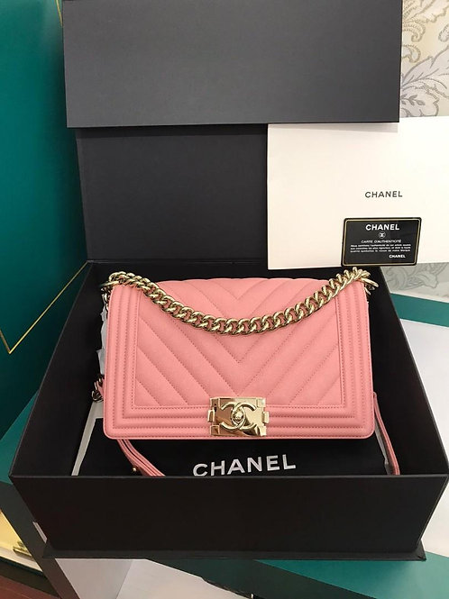 #27 BNIB Chanel Boy Chevron caviar Pink with GHW