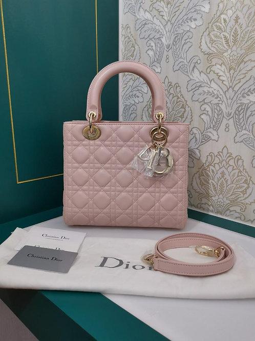 Brand New Lady Dior Medium Powder Pink Lamb with GHW