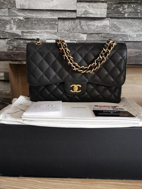 #19 LNIB Chanel Jumbo Classic Double Flap Black Caviar with GHW