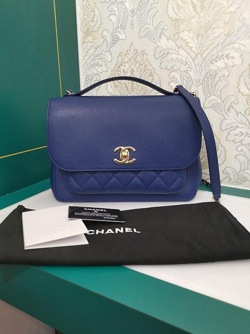 #24 Like New Chanel Affinity Business Flap Medium/Large Blue Caviar Light GHW