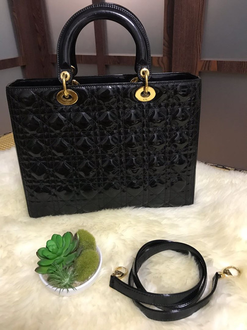 5a07f3125 Lady Dior Large Patent Black With Ghw