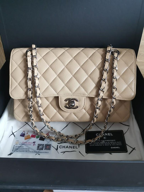 #18 Almost New Chanel Classic Double Flap Medium Caviar Beige with SHW
