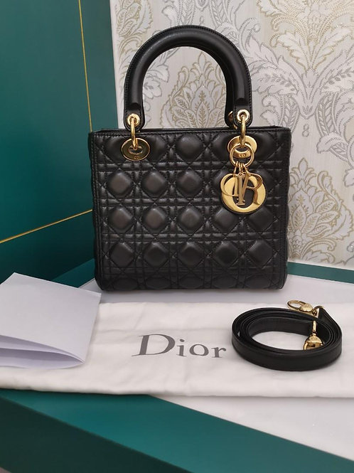 Like New Lady Dior Black Medium Lamb with GHW