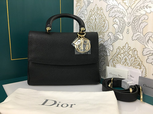 Brand New Be Dior Flap Black Grained Calf leather with GHW