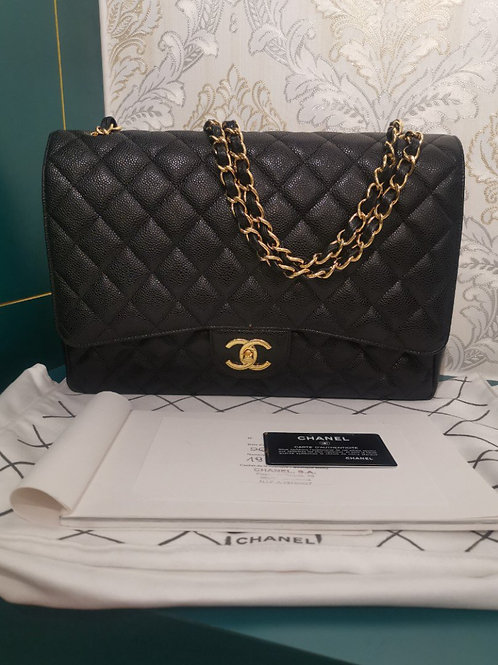 #19 Like New Chanel Maxi Double Flap Black Caviar with GHW