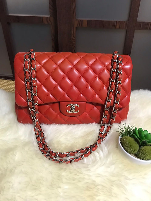 Chanel Jumbo Double Flap Red with Shw
