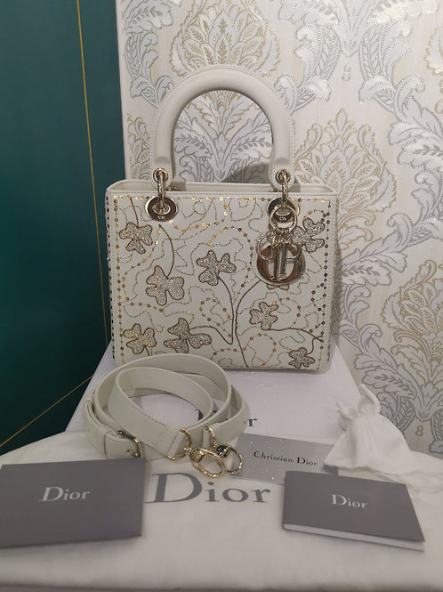 BNIB Lady Dior Medium limited edition Embroidered Clafskin with GHW
