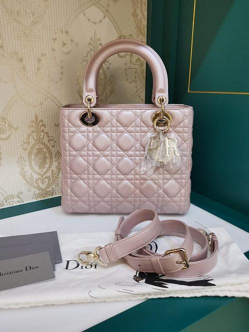 Brand New Lady Dior Medium Pearly Lotus Pink Lamb GHW (Cash S$4,200)
