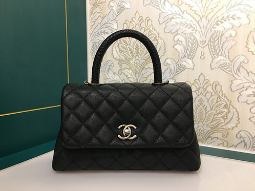 #23 LNIB Chanel Coco Handle Small Black Caviar with Lizard Handle