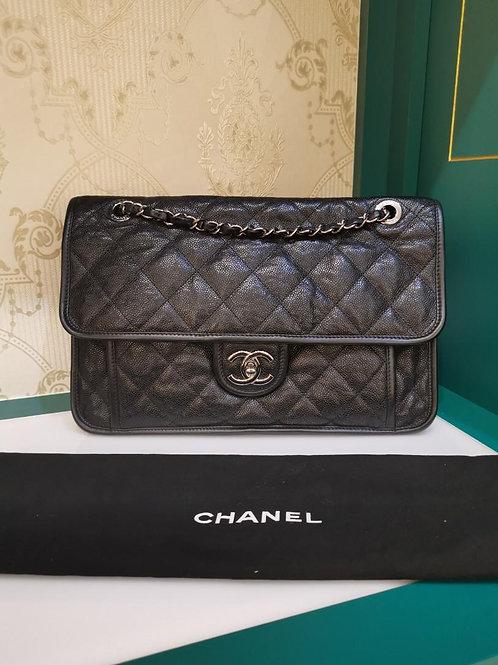 #19 Like New Chanel French Riviera Medium Black Caviar RHW