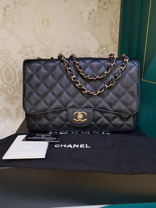 #13 LNIB Chanel Jumbo Classic Single Flap Black Caviar GHW (Cash S$7,480)