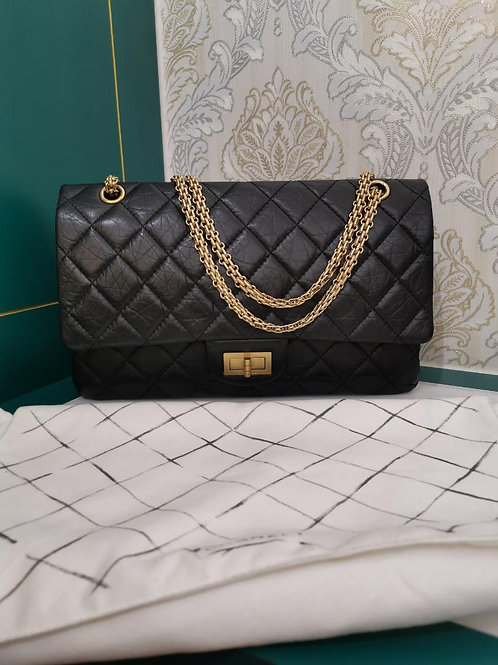 #20 Like New Chanel Reissue 2.55 227 Black Distressed Calf Black with GHW