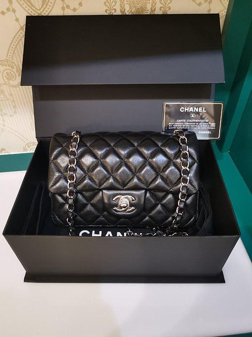 #24 LNIB Chanel Mini Rectangular Black Lamb SHW